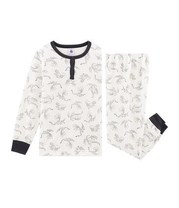 Samt-Pyjama für kleine Jungen weiss Marshmallow / weiss Multico