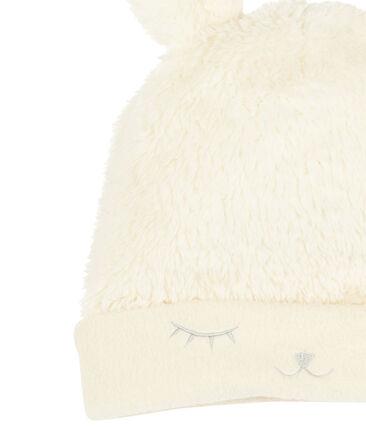 Baby-Mütze für Mädchen mit Fleecefutter weiss Marshmallow