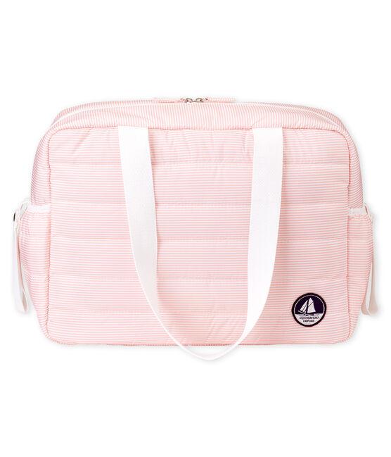 Baby-wickeltasche mit ringelstreifen unisex rosa Rosako / weiss Marshmallow