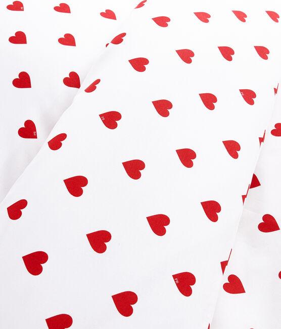 Bettwäsche aus Popeline, mit roten Herzen gemustert weiss Marshmallow / rot Terkuit