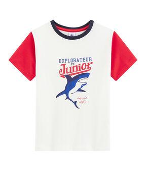 Kinder-T-Shirt für Jungen weiss Marshmallow / rot Peps