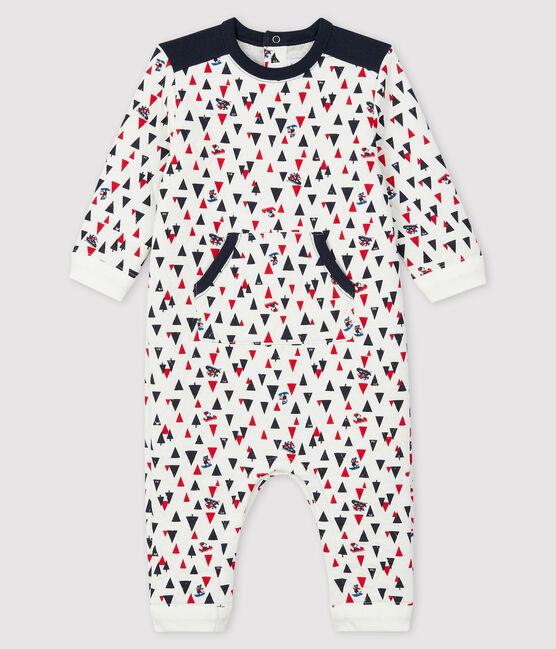 Langer Baby-Overall für Jungen weiss Marshmallow / weiss Multico