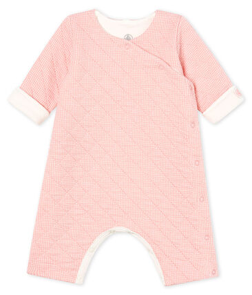 Langer Baby-Overall aus gestepptem Doppeljersey rosa Charme / weiss Marshmallow
