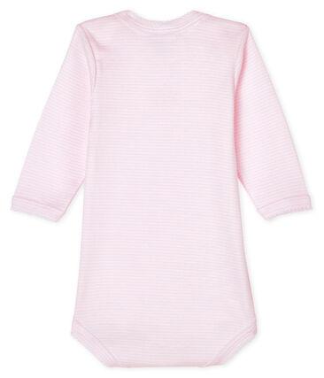 Langärmliger Baby-Body für Mädchen rosa Pearl / weiss Multico