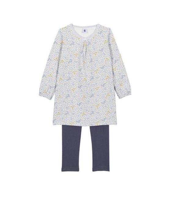 Mädchen Nachthemd mit Leggings grau Poussiere / weiss Multico