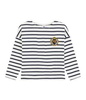 Kinder-T-Shirt für Jungen weiss Marshmallow / blau Smoking