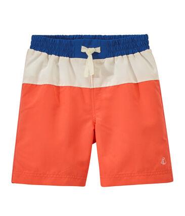 Jungen-Badeshorts im Color-Blocking-Design orange Orient / weiss Marshmallow