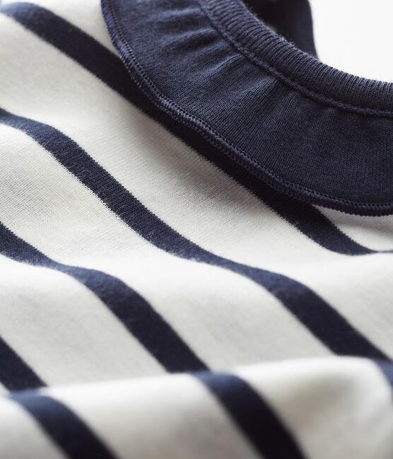 Kurzärmelige baby-bluse mädchen weiss Marshmallow / blau Smoking Cn