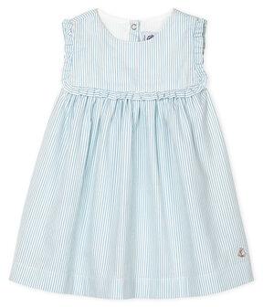 Gestreiftes kurzärmeliges Babykleid für Mädchen weiss Marshmallow / blau Acier