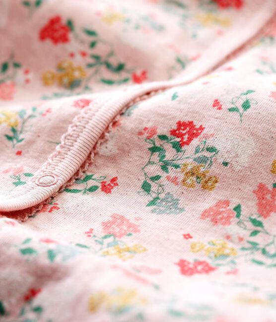 Flauschiger Baby Mädchen Strampler ohne Fuß rosa Joli / weiss Multico