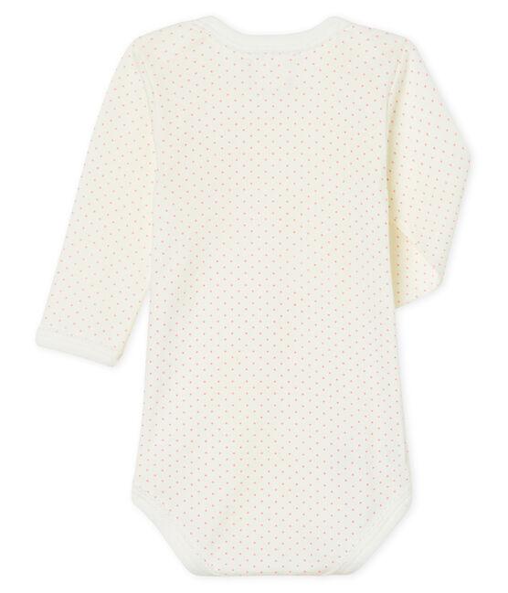 Langärmliger Baby-Body für Mädchen weiss Marshmallow / rosa Charme