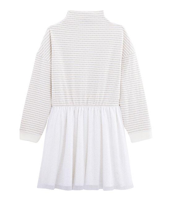 Langärmeliges Kinderkleid für Mädchen weiss Marshmallow / gelb Or