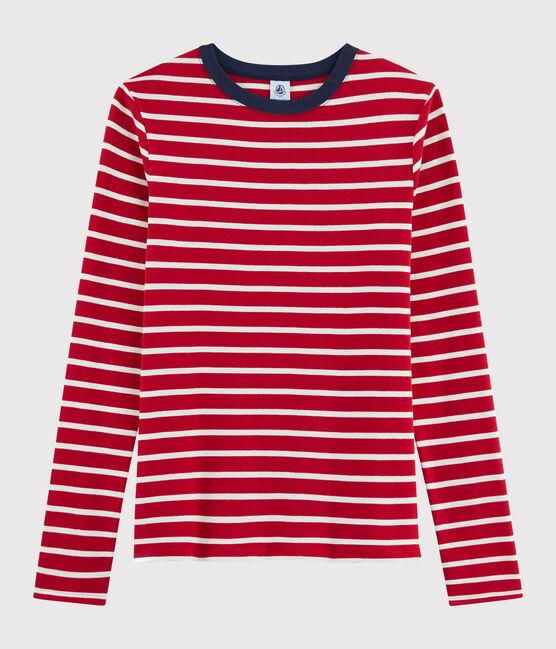 Damen-T-Shirt mit Rundhalsausschnitt rot Terkuit / weiss Marshmallow