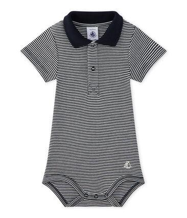 Gestreifter Baby-Jungen-Body mit Kragen
