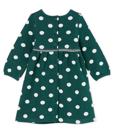 Langärmeliges gepunktetes Babykleid für Mädchen grün Sousbois / weiss Marshmallow