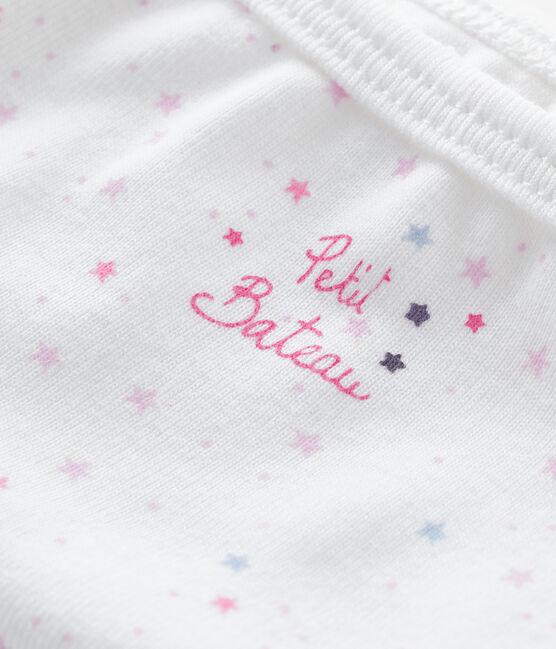 Unterhose für kleine Mädchen weiss Ecume / rosa Bonbec