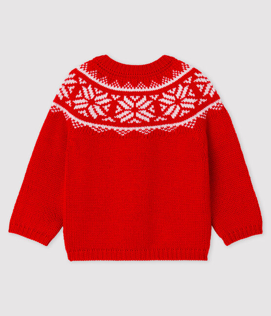 Baby-Cardigan aus 100% Wolle rot Terkuit / weiss Marshmallow