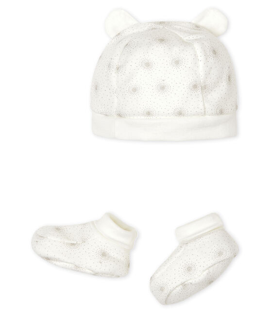 Set mit Mützchen für Neugeborene und Babyschuhen aus Doppeljersey lot .