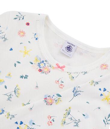 Eng geschnittener Pyjama für kleine Mädchen weiss Marshmallow / weiss Multico