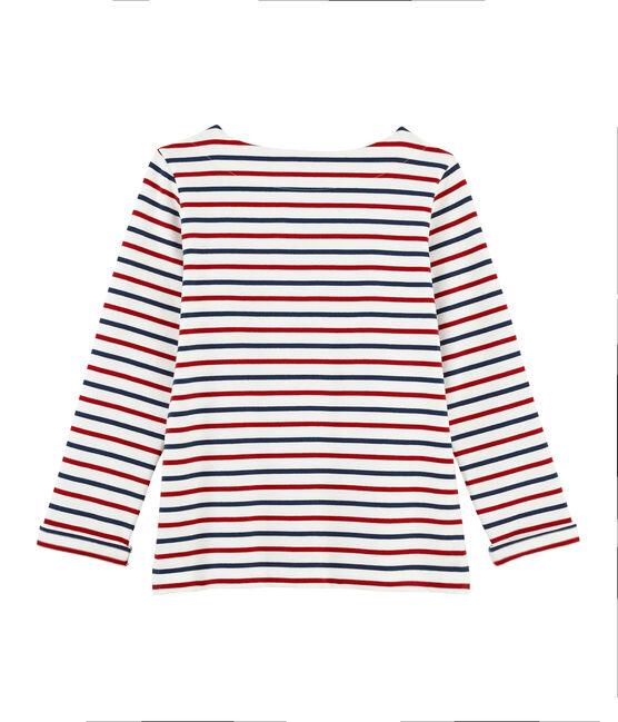 Dreifarbiges Matrosenshirt für Damen weiss Marshmallow / rot Terkuit / blau Medieval
