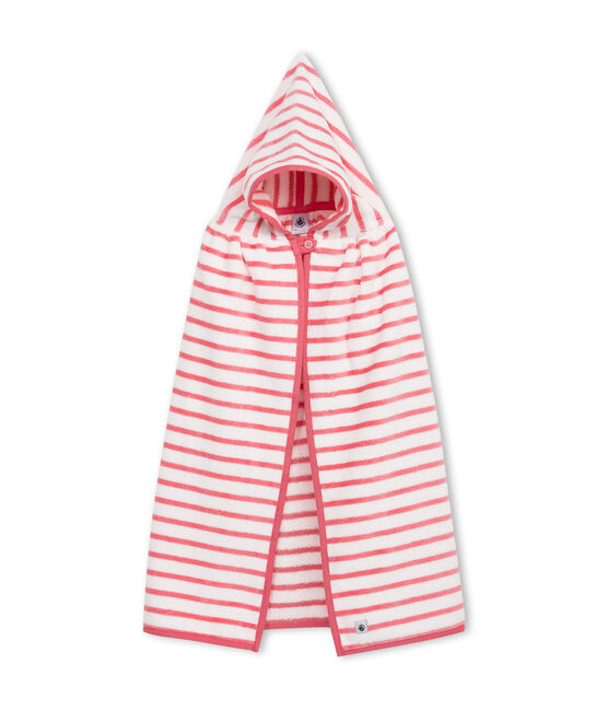 Baby-Badecape aus Frottee, Unisex weiss Lait / rosa Merveille