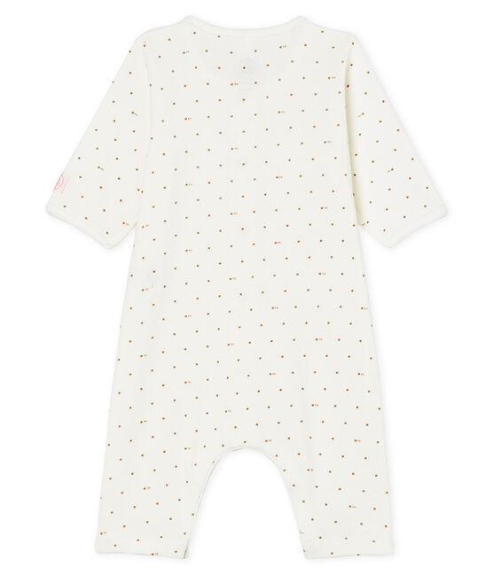 Baby-Strampler ohne Fuß aus Rippstrick weiss Marshmallow / rosa Gretel