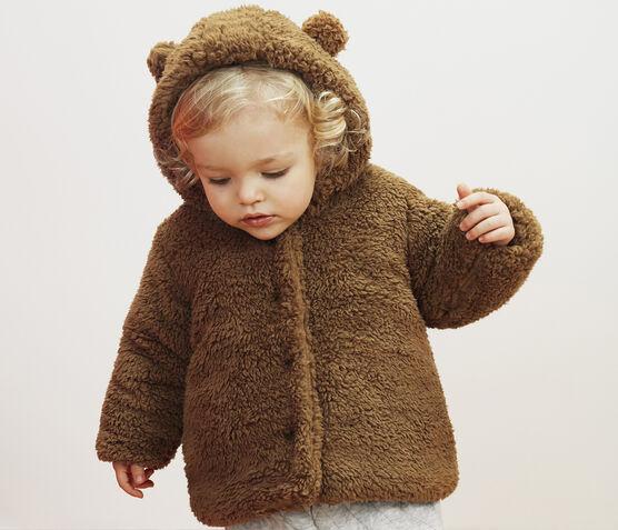 Baby-Sherpa-Mantel für Mädchen braun Brindille