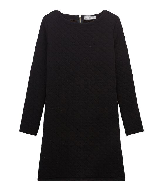 Gerade geschnittenes Kleid aus gedoppeltem Jersey für Damen schwarz Noir / gelb Dore