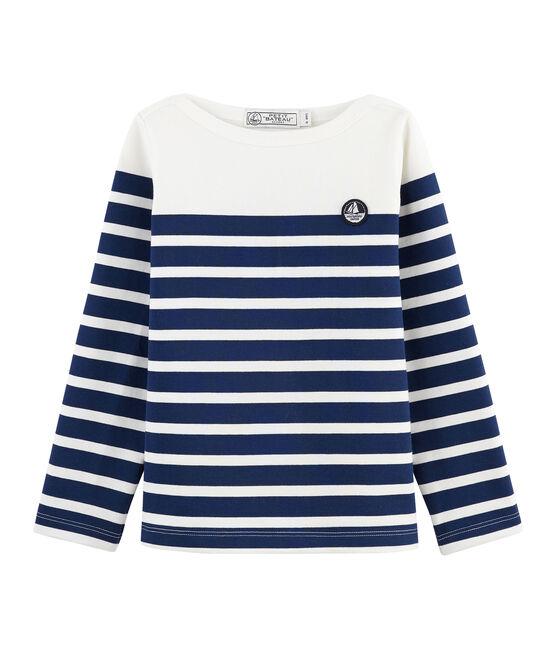 Kinder-Matrosenshirt aus Jersey weiss Marshmallow / blau Medieval