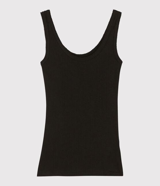 Damen-Tanktop aus Wolle und Baumwolle schwarz Noir