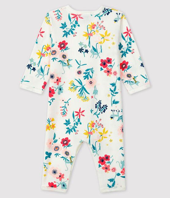 Baby-Strampler ohne Fuß aus Rippstrick mit Blumen-Druck für Mädchen weiss Marshmallow / weiss Multico