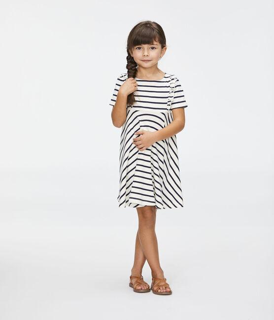 Kinder-Kleid für Mädchen beige Coquille / blau Abysse