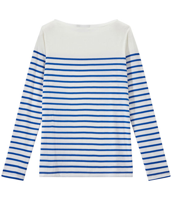 Gestreiftes Damen-Langarmshirt weiss Marshmallow / blau Perse