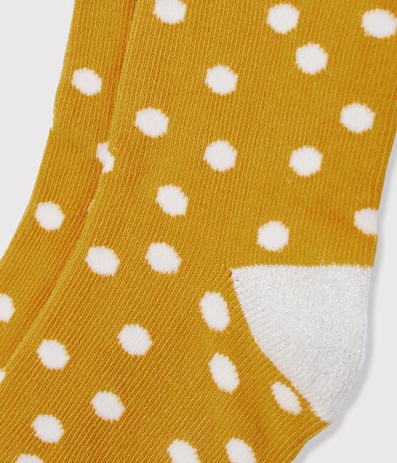 Kinderstrümpfe für Mädchen gelb Boudor / weiss Marshmallow
