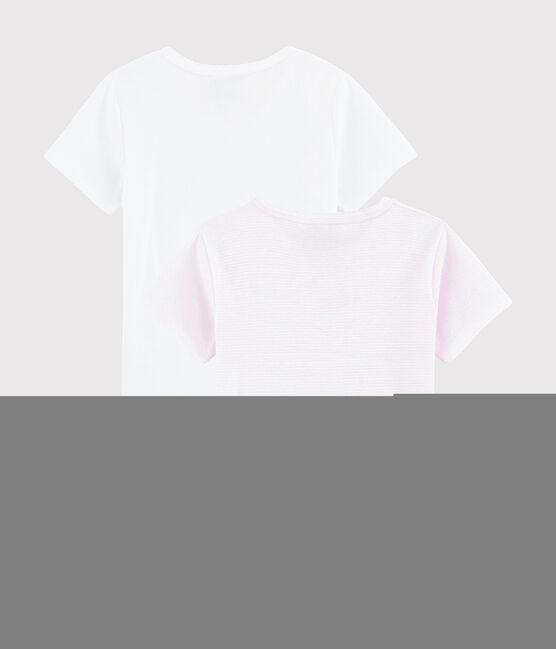 Set mit 2 kurzärmeligen T-Shirts aus Rippstrick mit rosa Ringelmuster für kleine Mädchen lot .