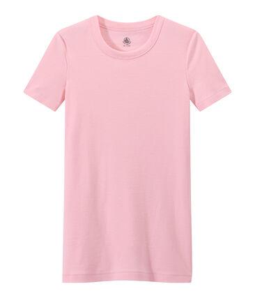 Damen-T-Shirt aus Original-Rippstrick rosa Babylone
