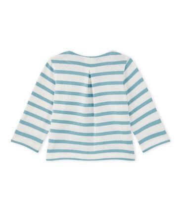 Gestreifter Baby-Mädchen-Cardigan weiss Marshmallow / blau Mimi