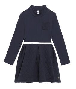 Kinder-Kleid mit Rollkragen Mädchen blau Smoking