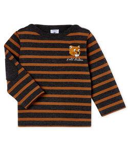 Neu interpretiertes Baby-Streifenshirt für Jungen schwarz City / braun Cocoa