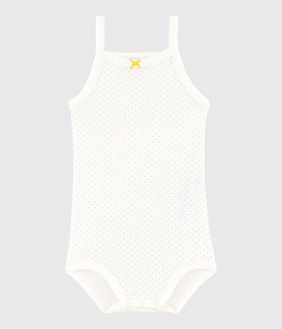 Baby-Trägerbody Mädchen weiss Marshmallow / rosa Charme