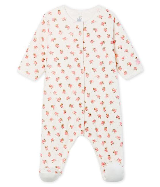 Baby-Bodyjama aus Velours für Mädchen weiss Marshmallow / weiss Multico