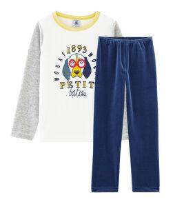 Samt-Pyjama für kleine Jungen blau Medieval / grau Poussiere