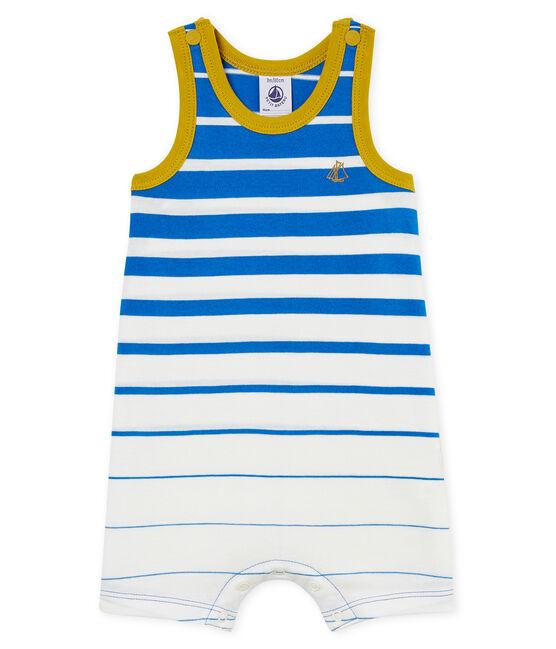 Baby-kurzoverall aus leichtem leinen mit platziertem streifenmuster jungen blau Riyadh / weiss Marshmallow Cn