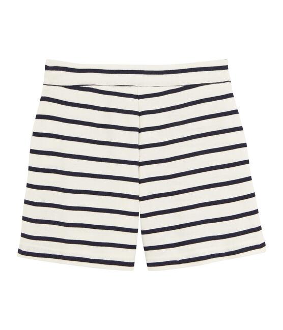 Mädchen-Shorts aus Rippstoff beige Coquille / blau Abysse