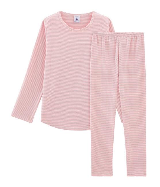 Rippstrick-Pyjama für Mädchen rosa Charme / weiss Marshmallow