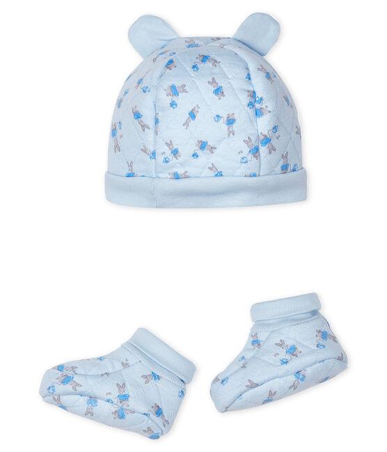 Set mit Mützchen für Neugeborene und Babyschuhen aus Doppeljersey blau Fraicheur / weiss Multico
