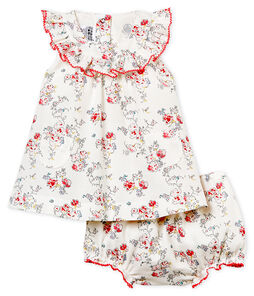 Gemustertes baby-kleid und bloomer mädchen
