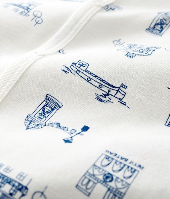 Baby-Strampler 'Paris' ohne Fuß aus Rippstrick weiss Marshmallow / blau Major