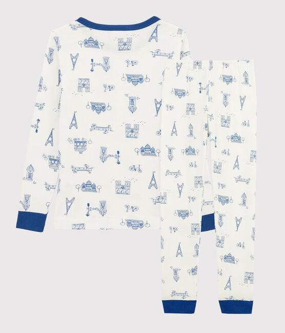 Snugfit-Pyjama aus Rippstrick mit Paris-Print für Kinder weiss Marshmallow / weiss Multico