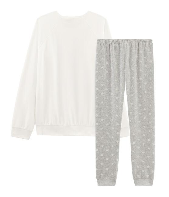 Samt-Pyjama für Mädchen grau Beluga / weiss Marshmallow